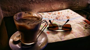 photo, image, coffee, map, sunglasses