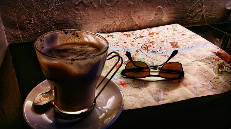 photo, image, coffee, map, sunglasses, great start to a travel day