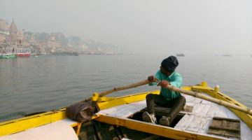 photo, image, rower, ganges, varanasi