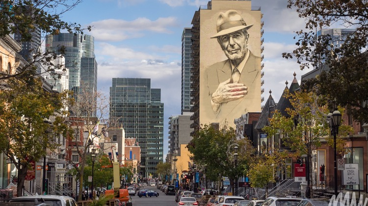 Leonard Cohen mural, solo travel in montreal