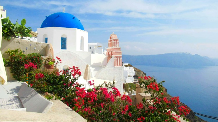 blue-domed church in oia, santorini