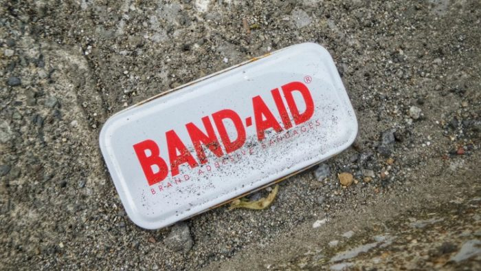bandaid package, travel first aid kit
