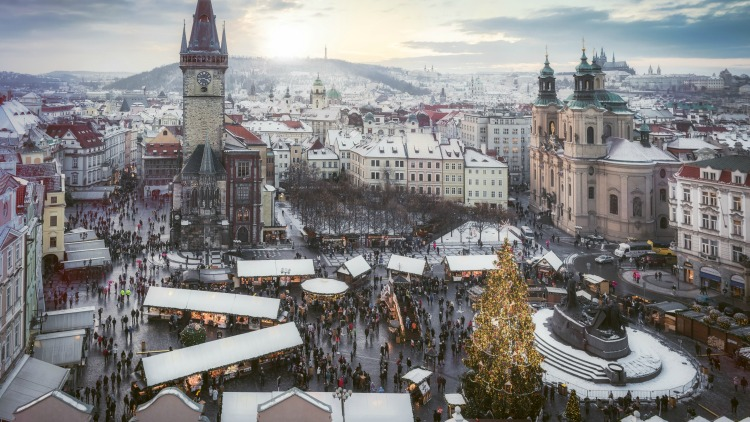 prague, old town square, solo travel destinations for christmas